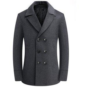 Invierno Gris Woolen Masculino Doble Pechuza Doble Abrigo Hombres Manga Larga Gruesa Blend Coat Boy Plus Tamaño 4xl Cortavientos