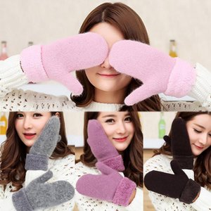 Дополнительные Толстые шерстяные перчатки теплая зима двойной кашемира вязать перчатки 1Pair Бархатные Твердая Thicker для женщин Женщины 2020 моды