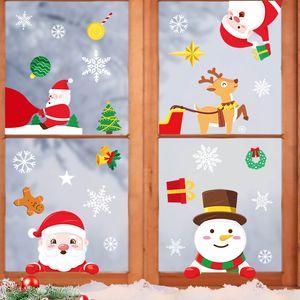 La frontera de New Cross Creatividad árbol de Navidad Decoración de Navidad caliente viejo muñeco de nieve copo de nieve pegatinas electrostáticas familia de Navidad