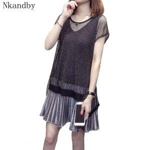 Nkandby Plus Size-Frauen-Kleid 2020-Sommer-Kleidung elegante koreanische kurze Hülse Mesh-Patchwork gefaltete Maxi-Lady Kleider 5xl