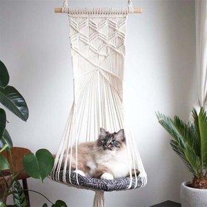 Arazzo di arazzi Handwoven Appeso Macrame Pet Cat Hammock Bed Cage Swing Decor 425D LJ201225