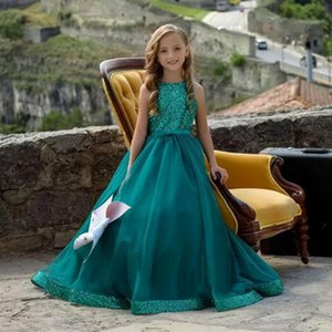 Dark Green Sequined A-line Flower Girl Dresses Cheap Girl Formal Wedding Dresses Elegant Evening Party Birthday Pageant Gowns