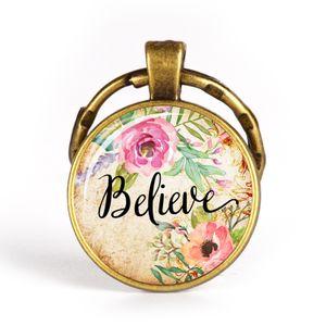 Acredito Esperança Moda Christian Bíblia Chaveiro Chaveiro Charms Bíblia Salmo de Vidro Flor Foto Keychain Homens Mulheres Presente