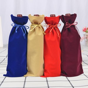 16 * 36cm Flannelette Drawstring wine red Bags wine bottle packaging red wine pouches custom logo.