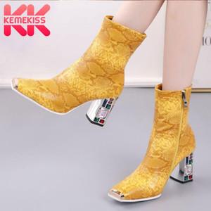 KemeKiss Damenschuhe Ankle Boots-quadratische Zehe-starke Absatzkristall Snakeskin Schuhe Reißverschluss Winter-Schuhe Größe 34-48