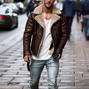 Nice Men Winter Imitation Leather Jacket Biker Motorcycle Zipper Jaqueta De Couro Masculino Long Sleeve Coat Top Deri Ceket Y1112