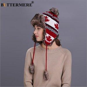 BUTTERMERE Russian Red Hat Chapka Femme Hiver chaud Oreillettes fourrure Bomber Chapeaux Casquettes Femmes Feuille d'érable de Noël Beanies Pompon 201019