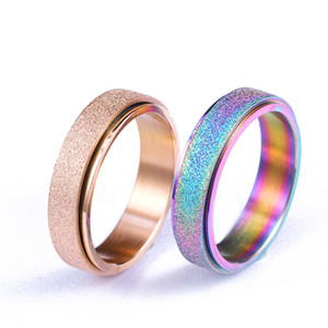 8MM Fashion Colorful dazzling rose gold 316 titanium steel band ring frosted rotating ring couple finger rings for women man fashion jewelry
