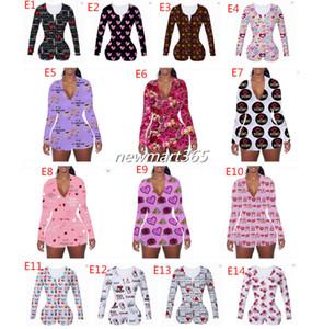 Nueva moda Día de San Valentín Mujeres mono mono mamelas pantalones cortos pantalones pijamas diseñador impreso v cuello pantalones pantalones ladies ropa 2021
