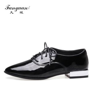 Fanyuan Fashion Thick Heels Women Pumps Pointed Toe Lace Up patent leather Footwear New Spring autumn Female Shoes Big Size 43