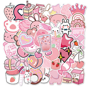 50pcs set new Cartoon pink girly doodle Small waterproof sticker for laptop case bike Skateboard car stickers
