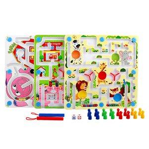2 en 1 Juguetes de educación para niños de doble cara juguetes Magnetic Ball Pen Labyrinth Flying Chess juego Juego de Familia de Madera