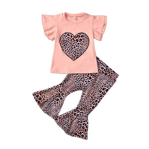 2021 New Summer Love Leopard Girls Suits Cotton Short Sleeve T Shirts+Flared Trousers Leggings 2Pcs Kids Outfits Baby Clothes 1-6Y B3774