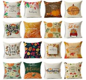 Designs Happy Thanksgiving Day Kissenbezüge Fall Dekor Leinen Danket Sofa-Kissenbezug Startseite Autokissenüberzüge werfen DWE2134