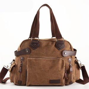 Solid Color Black Khaki Casual Vintage Multifunction Trunk Canvas Crossbody Travel Bag Shoulder Bag Messenger Handbag LJ201222