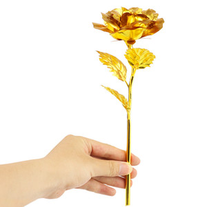 DHL 24K Plated Gold Rose Flower Artificial Flower 24K Foil Rose Birthday Valentine's Day New Year Creative Gift Roses OPP packaging
