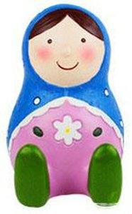 Zakka Style 4.5 inch Height Russian Dolls Piggy Bank Polyresin Russia Matryoshka Nesting Doll Coin Bank Charity Gifts