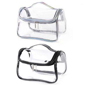 Женщины путешествия косметический мешок портативный PVC прозрачный водонепроницаемый лазерный макияж сумка большой емкости косметический мешок1