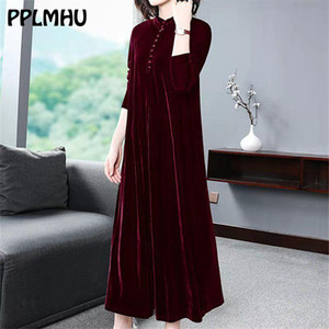 Plus Size 5XL 6XL Velvet Dress Women 2021 New Casual Mom's Loose Maxi Robe Red Long Sleeves Solid Color Winter Party Vestidos