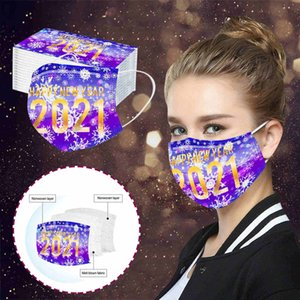 2021 happy new year print adult disposable mask personality disposable dustproof and breathable protective mask with free shipping