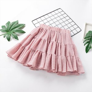 2020 summer female students solid color preppy style skirts women elastic waist chiffon patchwork pleated skirts cute wholesale