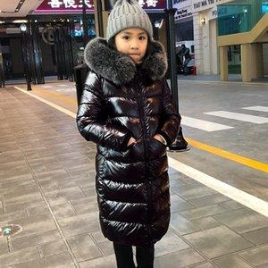 -30 graus russo frio inverno meninas longas brilho brilhante pato para baixo casacos crianças desgaste de neve parka chacês com capuz com colar de pele grande 201102