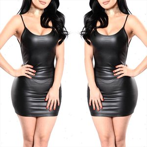 Black Sexy Faux Leather Dress Backless Club Party Short Dress Wet Look Latex Bodycon Push Up Bra Mini Micro