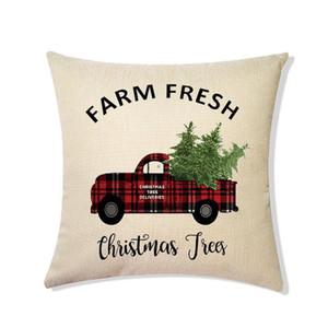 Buon Natale federa tela di canapa 45 * 45cm ELK Stampato Pacchetto individuale di Natale o un'immagine retrò plaid federa BWB2942