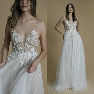Illusion Liz Martinez Wedding Dresses Sexy Spaghetti Neck Lace 3D Floral Appliques A Line Bridal Gowns Tulle Backless Wedding Dress