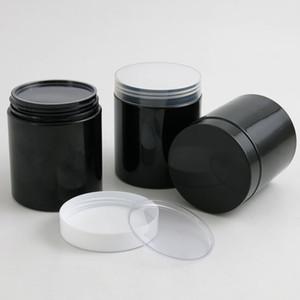 20 x Leer 250G Schwarz PET-Gläser mit schwarzem Weiß Kunststoff-Schraube Kunststoff-Deckel 250ml 8.33OZ Sahnebehälter mit PE-Pad 201013