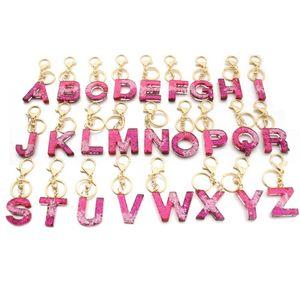 Lettera Portachiavi 26 inglese Word Glitter resina incanta borsa per donna A alla Z portachiavi dell'anello chiave dell'automobile regalo carino partito BWD2182