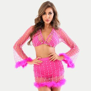Ocstrade Beading 2 Piece Suit Bandage Dress 2020 Summer Women Sexy Mesh V Neck Two Pieces Pink Suit Bandage Dress Party