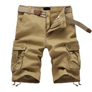 2020 Summer Men's Baggy Multi Pocket Cargo Shorts Male Cotton Khaki Mens Tactical Shorts Short Pants 29-44 No Belt