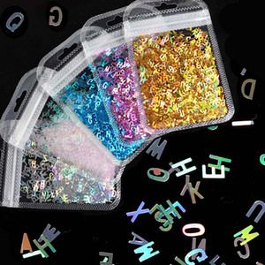 New Holographic Sequins Glitter Nail Art Mixed Size Letter Design Shape Flakes Tips Manicure Gold Silver 3D Nail Accessories