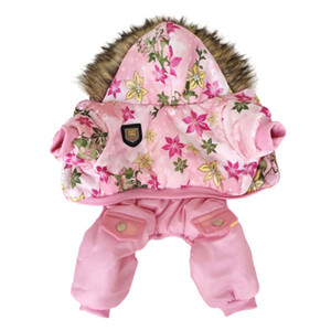 New Pineocus Hooded Warm Winter Thickness Pet Dog Clothes Cat Puppy Dogs Coat Jackets With Flower Pattern From S-XL LJ201130