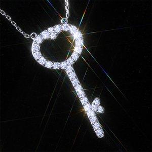 Februaryfrost Marken-Designer-Key mit Crystal Zircon Form Frauen Halskette Modeschmuck Glänzendes Versatile Art Liebe Geschenk Factory Direct Sal