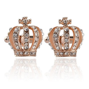 Crystal Gold Crown Boutons de manchette Mens Diamond Bouton Bouton pour chemise d'affaires formelle costume bijoux de mode