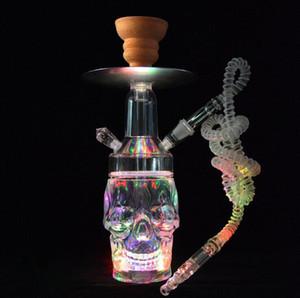 Crâne transparent crâne acrylique narguilé bong sertie de support de charbon de charbon de charbon de câble à LED Shisha Narguile chicha fumez des tuyaux d'eau
