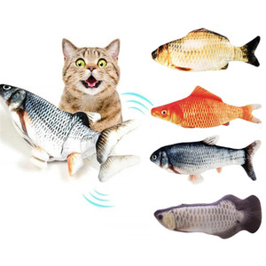 Electric Fish Cat Toy Realistic Plush Moving Wagging Fish Cat Toys Simulation Interactive Cat Kitten Toys for Indoor Cats Pets Kitten