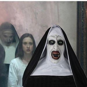 Valak Scary Horror The Nun Cosplay Latex Mask Head Scarf Full Face Helmet Halloween Party Costume Props
