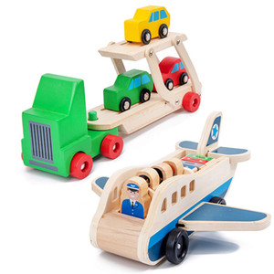 Children Wooden Double-Decker Truck Airplane Transport Set Simulation Model Toys Kid's Wooden Educational Toy Gifts For Children LJ200930