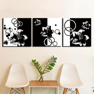 3 Piece Wall Art Black And White Flower Painting On Canvas Posters And Prints Ready To Hang For Home Wall Decor