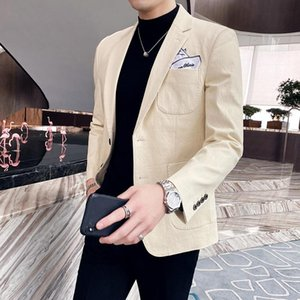 British Style Men Blazers Solid Color Business Casual Suit Jacket Wedding Streetwear Social Dress Coat 2020 Autumn Costume Homme