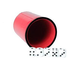 Red Flannelette Mute Cup, Black Leather Throwing Cup with Dice 46OX
