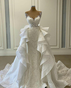 Luxury Mermaid Wedding Dresses with Detachable Train Ruffles Lace Appliqued Bridal Gowns Plus Size Vestidos de novia