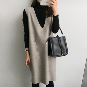 Maternity Women Pregnancy Winter Tank Dresses Mama Clothes Korean Knitted Knee Length Solid Pocket Causal Dress Japan 201126