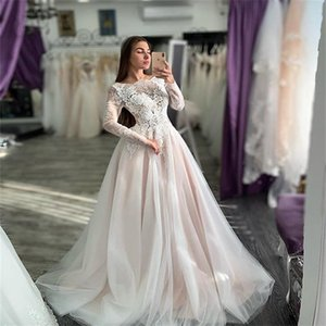 Real Picture 2021 Newest A-line Beach Wedding Dresses Pink Blush Long Sleeves Appliqued Lace Ruched Tulle Bridal Gown Church Wedding Dress