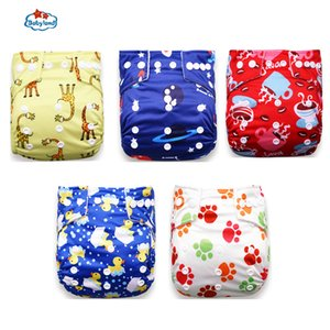 Babyland New Baby Diapers 5pcs Set Cloth Nappy Girl Boy Prints Pocket Diaper For 0-2 Years 3-15KG Baby Day Night Diapers 201020