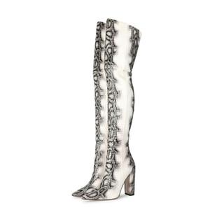 Serpiente patrón de augurio sobre las botas de la rodilla punta estrecha de los altos talones Sexy C26