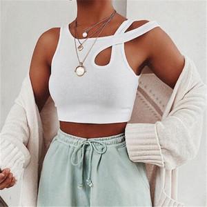 Sans manches été blanc femmes débardeur pansement évider côtelé culture hauts t-shirts mode Fitness Mini gilet de sport